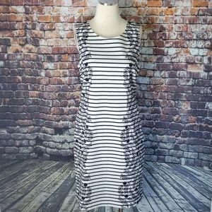 Boden Sheath Navy & White Stripe Dress 12L
